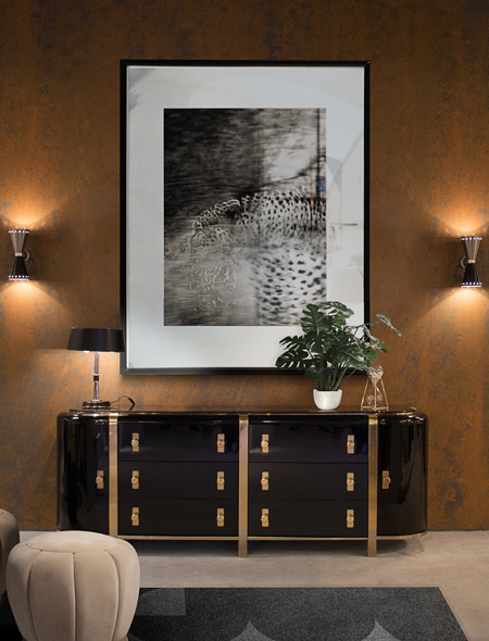 Brown wall and black cabinet with gold brass Monocles (TW5007) Drawer Handle from Twist Collection by Pullcast